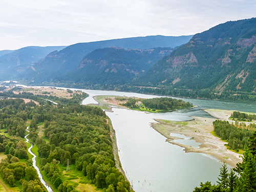 Panoramic View of Columbia River Gorge, looking east, as seen fr