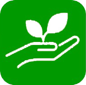 sprout from hand green and white icon