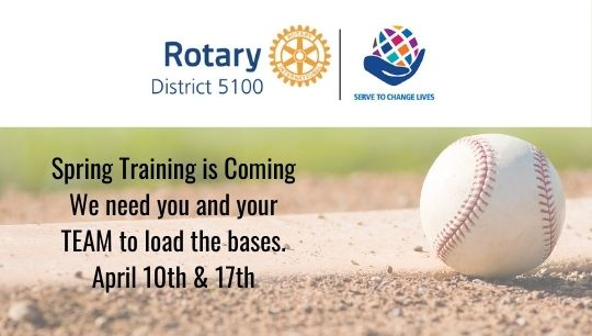 baseball sitting on the baseball diamond with a white overlay for rotary district 5100 and text about spring training coming up